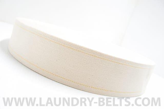 สายพานป้อนผ้า แบบผ้าคอตตอนริมสีเหลือง VERTEX สำหรับเครื่องรีดผ้าอุตสาหกรรมแบบลูกกลิ้ง และ เครื่องรีดผ้าอุตสาหกรรมแบบกระทะ และ เครื่องพับผ้าปูที่นอน