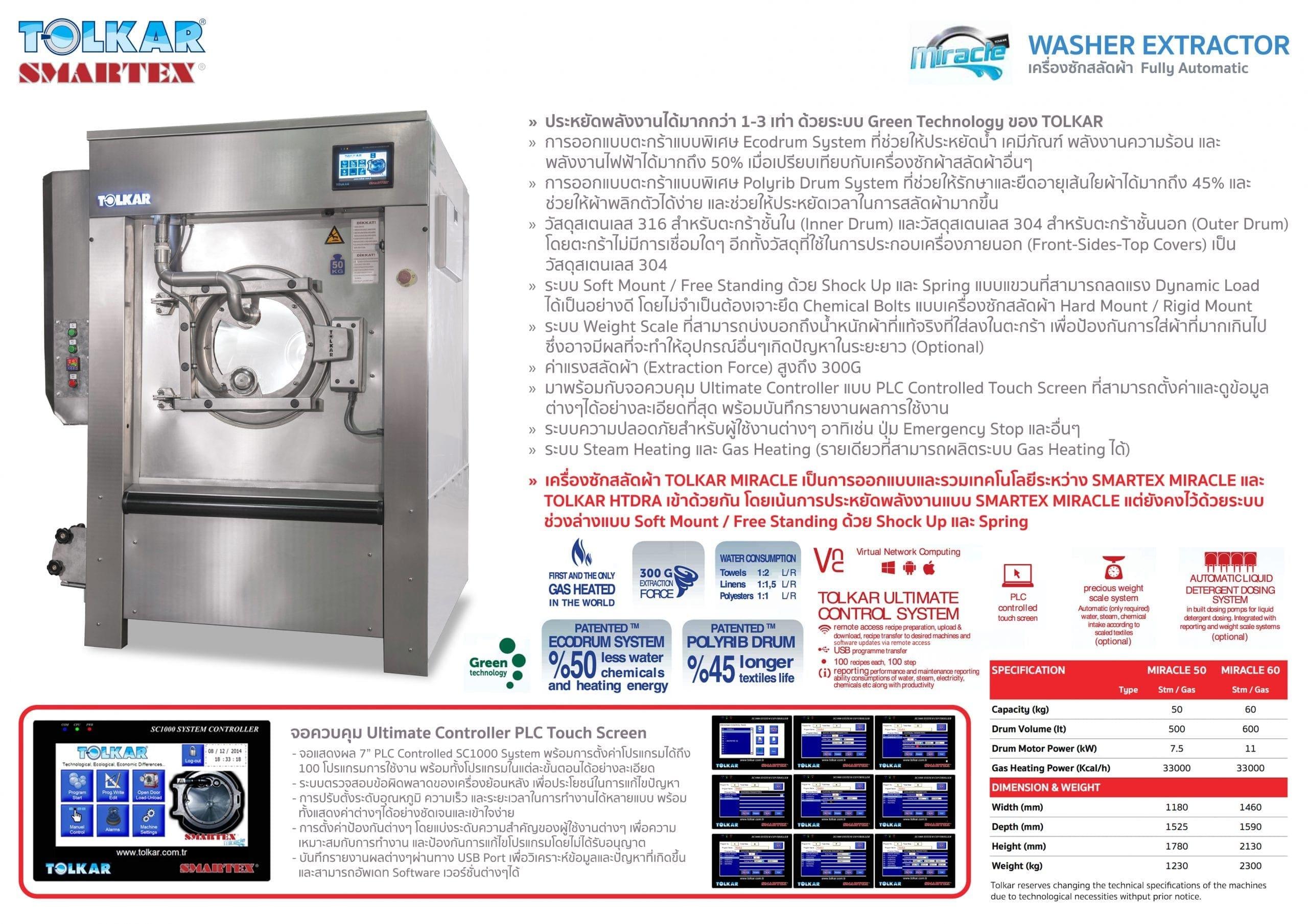 เครื่องซักผ้าอุตสาหกรรม TOLKAR MIRACLE ใช้แก๊สทำความร้อน