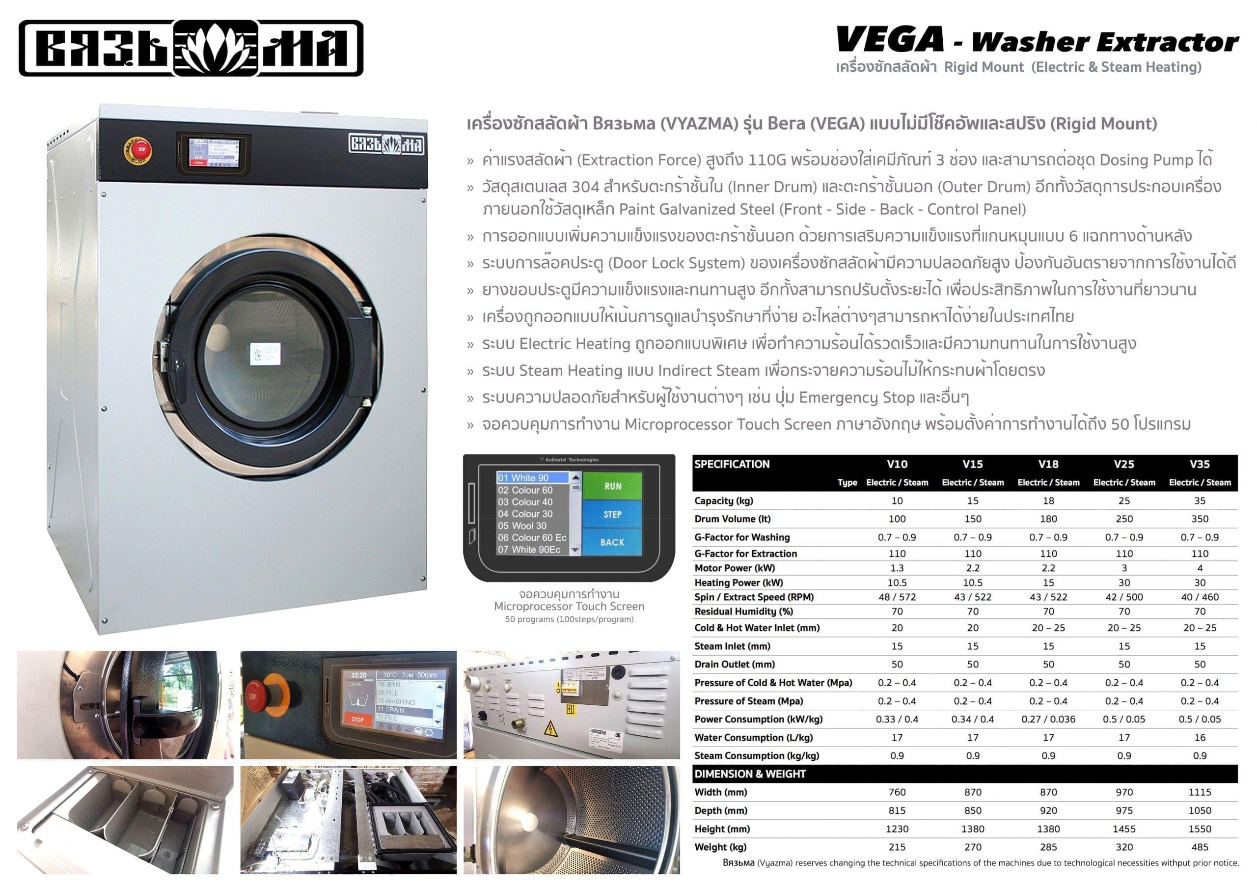 เครื่องซักผ้าอุตสาหกรรม VYAZMA VEGA เหมาะกับโรงแรมขนาดเล็กและขนาดกลาง