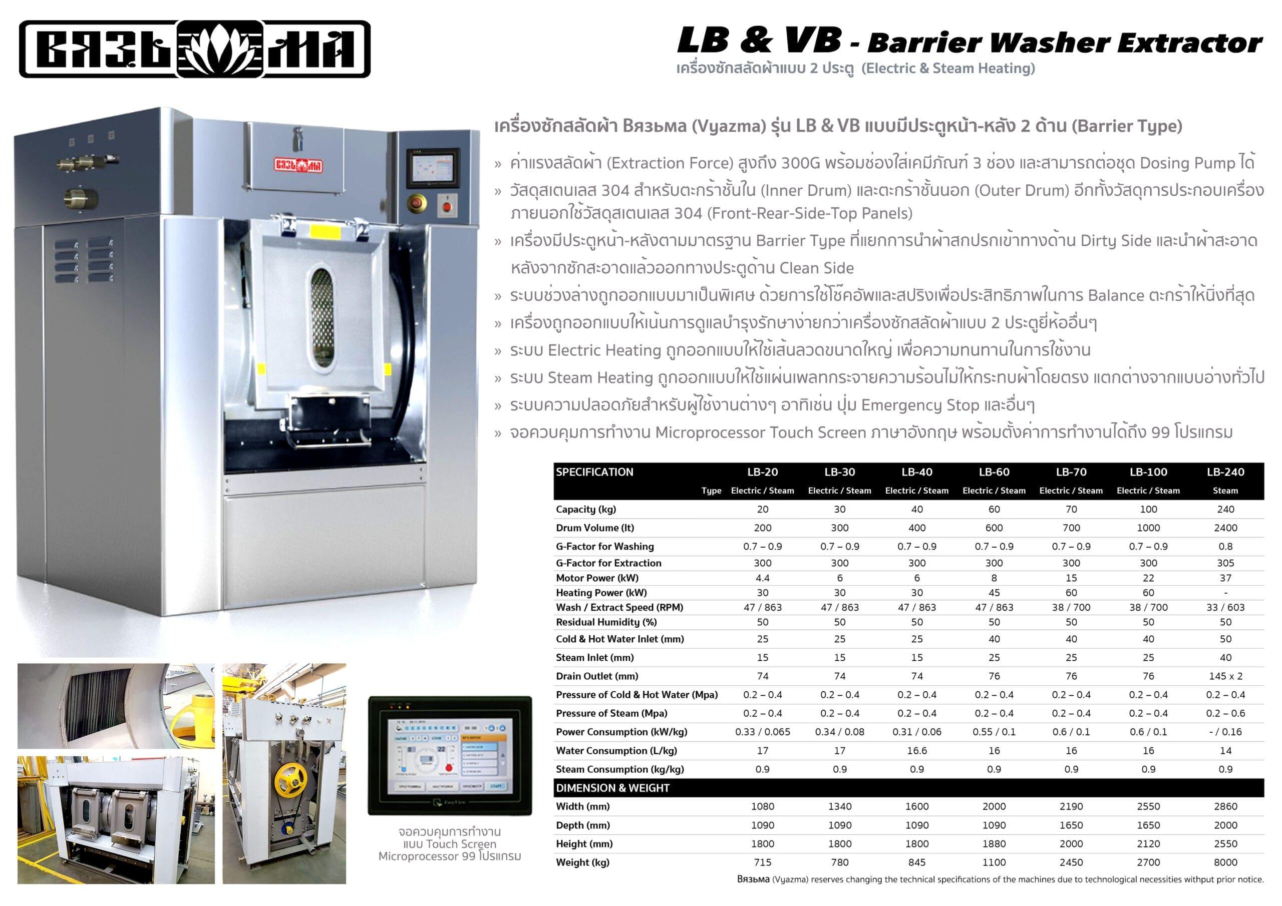 เครื่องซักสลัดผ้าอุตสาหกรรมแบบ 2 ประตู VYAZMA LB