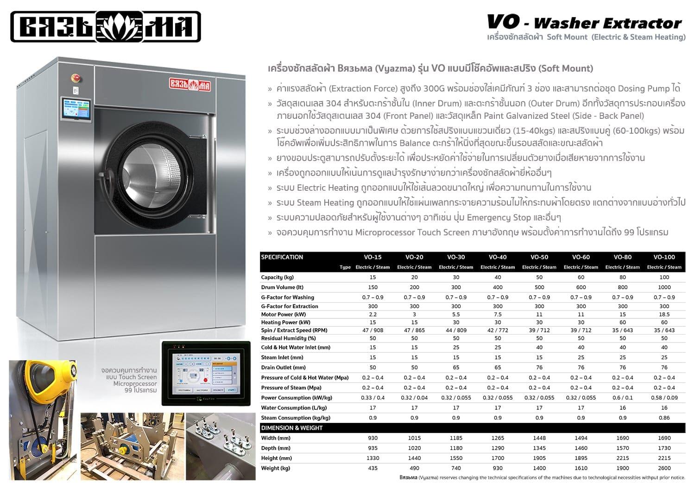 เครื่องซักผ้าอุตสาหกรรม VYAZMA VO 2019 1500