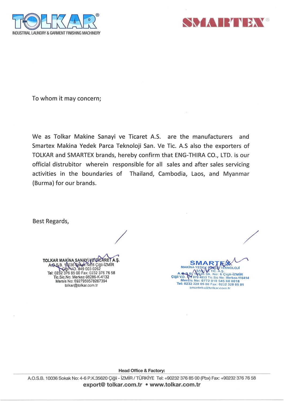 ใบรับรองการเป็นตัวแทนจำหน่าย TOLKAR-SMARTEX - Overseas